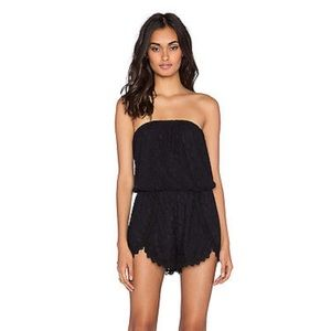 Free people Black Lace Strapless Romper -worn once